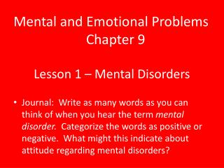Lesson 1 � Mental Disorders