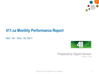 411 Monthly Performance Report