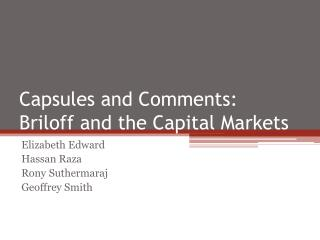 Capsules and Comments: Briloff  and the Capital Markets