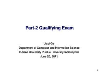 Part-2 Qualifying Exam