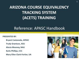 Arizona course equivalency tracking  system ( acets ) Training