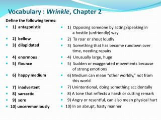 Vocabulary :  Wrinkle , Chapter  2