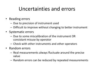 Uncertainties  and  errors