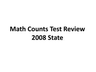 Math Counts Test Review 2008 State