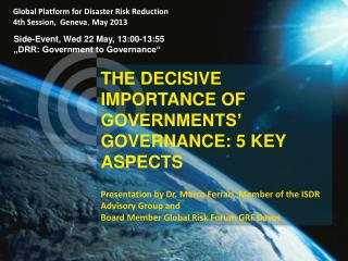 The  decisive importance of Governments' Governance: 5 key aspects
