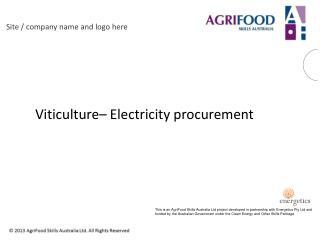 Viticulture� Electricity procurement