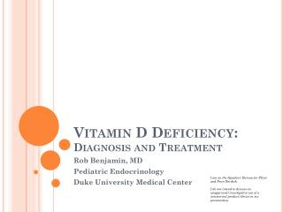 Vitamin D Deficiency: Diagnosis and Treatment