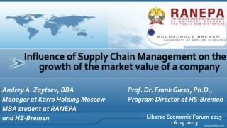 Influence of Supply Chain Management on the growth of the market value of a company