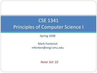 CSE 1341  Principles of Computer Science I