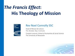 Rev  Noel Connolly SSC Head of Mission &  Culture The  Broken Bay Institute