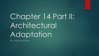 Chapter 14 Part II: Architectural Adaptation