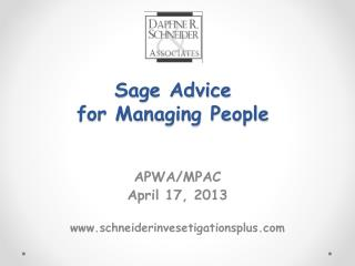 Sage Advice  for Managing People