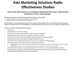Katz Marketing Solutions Radio Effectiveness Studies