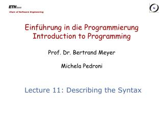 Lecture 11:  Describing the Syntax