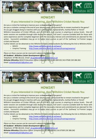 HOWZAT! If you Interested in Umpiring, then Wiltshire Cricket Needs You