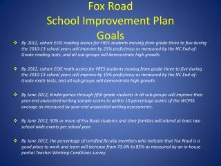 Fox Road  School Improvement Plan  Goals