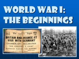 World war i: The Beginnings