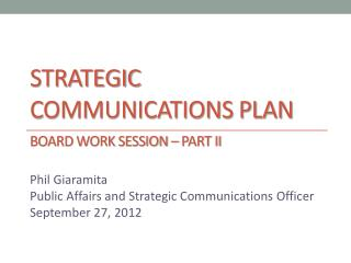 Strategic Communications Plan