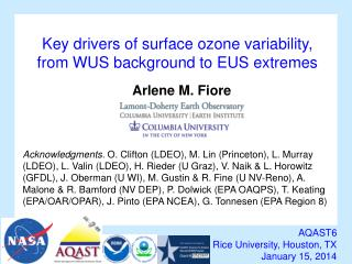 Key drivers of surface ozone variability,  from  WUS background to EUS  extremes