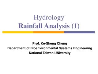 Hydrology Rainfall Analysis 1