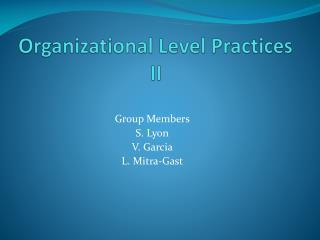 Organizational Level Practices II