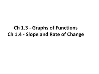 Ch 1.3 - Graphs of Functions Ch 1.4 - Slope and Rate of Change