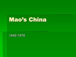 Mao s China