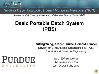 Basic Portable Batch System (PBS)