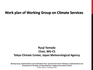 Work plan of Working Group on Climate Services