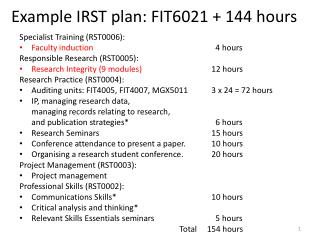 Example IRST plan: FIT6021 + 144 hours