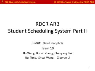 R DCR ARB Student Scheduling System Part II
