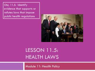 Lesson  11.5: Health Laws