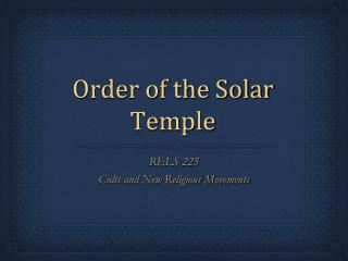 Order of the Solar Temple