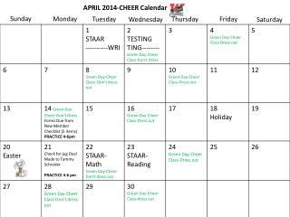 APRIL 2014-CHEER Calendar