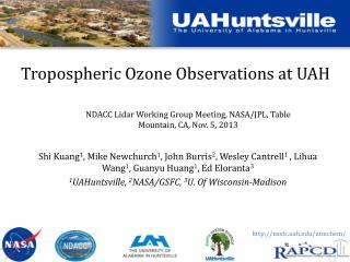 Tropospheric Ozone Observations at UAH