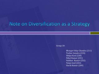 Note on Diversification as a Strategy