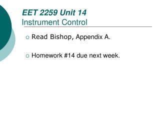 EET  2259 Unit  14 Instrument Control