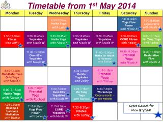 Timetable from 1 st May  2014