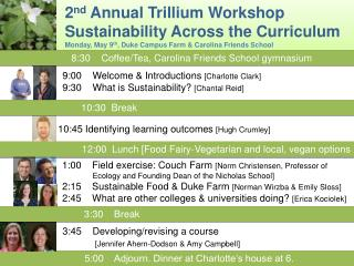 2 nd  Annual Trillium Workshop   Sustainability Across the Curriculum