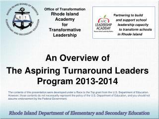 Office of Transformation Rhode Island  Academy  for  Transformative Leadership