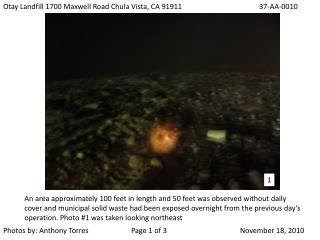 Otay Landfill 1700 Maxwell Road Chula Vista, CA 9191137-AA-0010