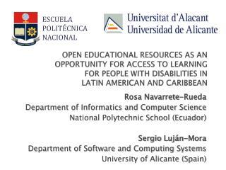 Rosa Navarrete-Rueda Department of Informatics and Computer Science