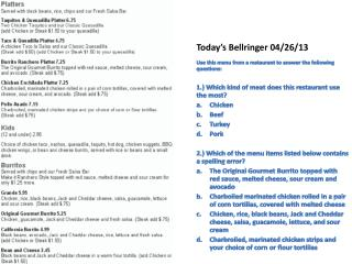 Today's  Bellringer 04 / 26 / 13