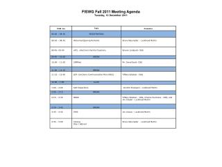 FISWG Fall  2011  Meeting  Agenda Tuesday, 13 December 2011