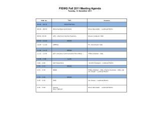 FISWG Fall  2011  Meeting  Agenda Tuesday, 13 December 2011