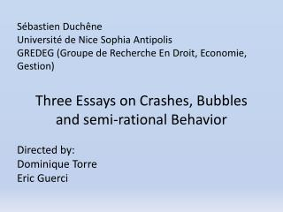 Three E ssays  on  Crashes ,  Bubbles  and  semi-rational  B ehavior Directed by :