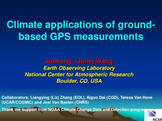 Climate applications of  ground-based GPS  measurements