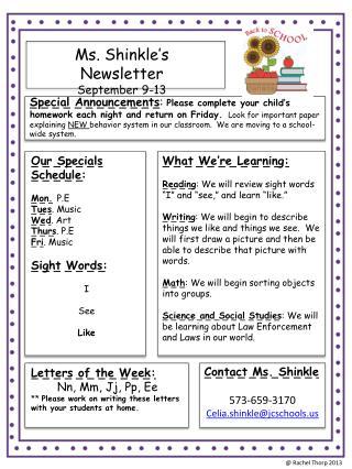 Ms.  Shinkle's  Newsletter September  9- 13