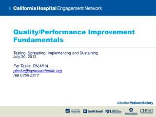Quality/Performance Improvement Fundamentals