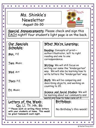 Ms.  Shinkle's  Newsletter August 26-30
